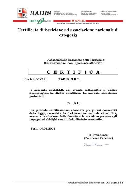 Certificato di iscrizione Anid