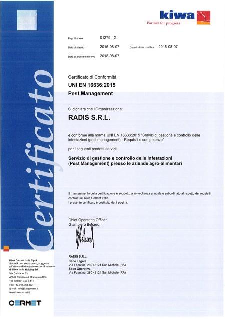 certificazione in conformità a alla norma